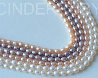 "On Sale White Rice Freshwater Pearls,Luxe A,White/Peachy/Mauve Pink Pearls,5-6 mm,14"",June Birthstone,for Wedding Bride and Mother's Day"