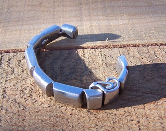 Funky Streamline Stainless Steel Metal Bracelet