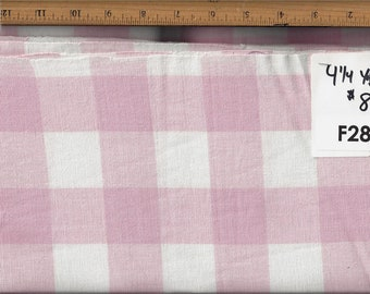 Baby pink check linen fabric - 4.5 yds & cut off