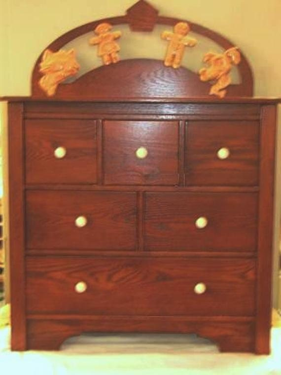 Chidrens Dresser Custom Hardwood Carved Cartoon Characters