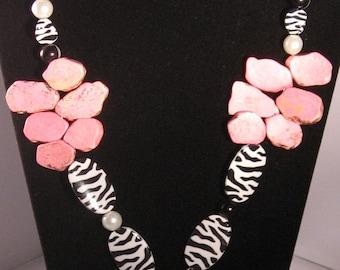 Pink Slab Turquoise (Dyed) Zebra Jewelry Set