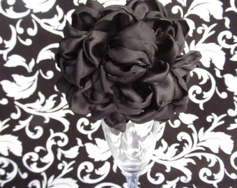 Black Satin Peony Fabric Flower Clip/Headband