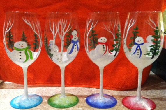 Items similar to christmas hand painted wine glasses on etsy for Christmas glass painting
