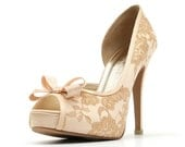 Champagne Lace Wedding Shoe with Bow