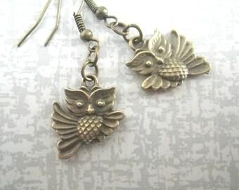 little owl - owl earrings vintage style
