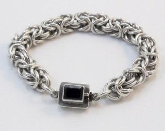 Argentium Silver Bracelet - Byzantine Weave