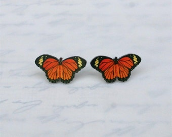 monarch butterfly earrings moth bug insect charm orange black yellow STUDS