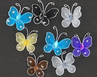 1 inch nylon organza wired decorative butterflies 12 pieces