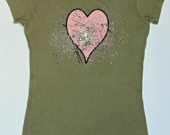 Pink Heart Shirt - Olive - Cap Sleeve Shirt