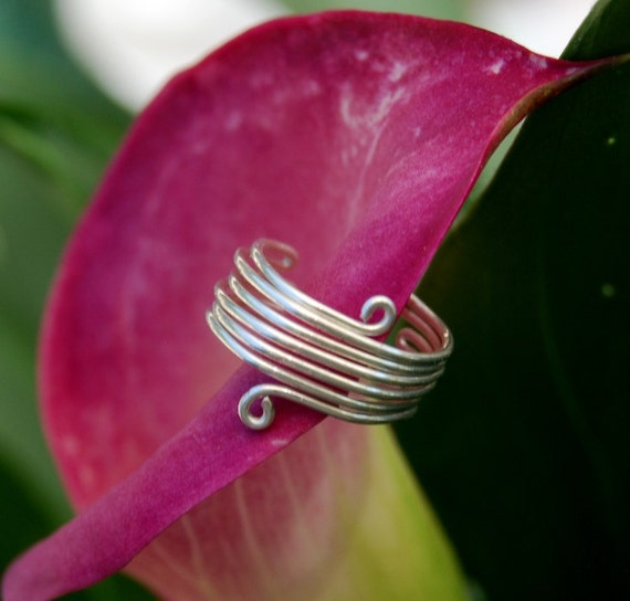 Toe Ring Coiled Wide Handcrafted Earth Friendly Recyled Sterling Silver Wire Wrapped