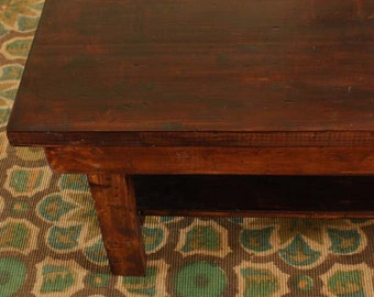 Cottage Farmhouse Brown Wood Coffee Table RUSTIC