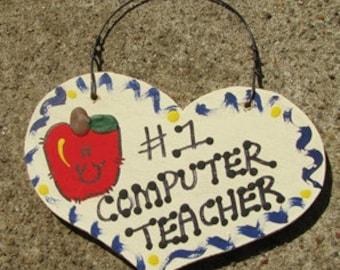 Teacher Gifts  Number One 819 Computer Teacher Heart