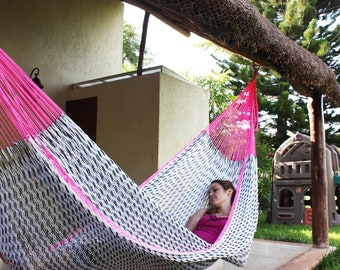 "Pitahaya Mayan hammock. Inspired on a ""dragon fruit"" (known as pitahaya in Mexico). Made with the thickest nylon threads"