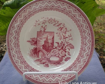 Antique Red Transfer Ware Shallow Bowl - Edinburg - Antique Collectible - Red Transferware - Gift For Collector - English Country - Gift - R
