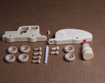 Handcrafted Mini Wooden Jeep and Trailer Kit 210K
