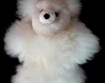 100% Baby Alpaca Fur White Teddy Bear- Peru -Handmade Toy