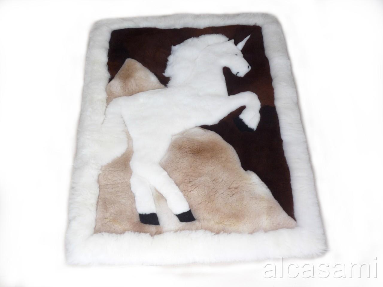 100 % Alpaka Fell Teppich Teppich Einhorn Design