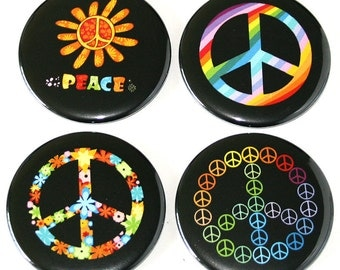 Hippie Peace - Set of 4 Large Fridge Magnets