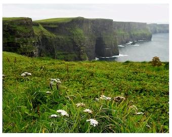 Photography Cliffs of Moher Fine Art Print 8 x 10-emerald isles-Romantic Mountains- Irish West Coast- Irelands Landscapes-Beauty Green Black
