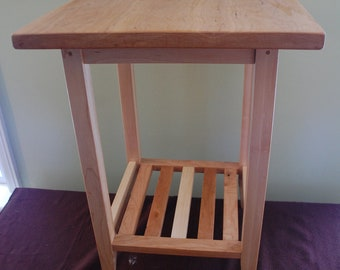 Square Hard Maple And Cherry Shaker End Table With Shelf