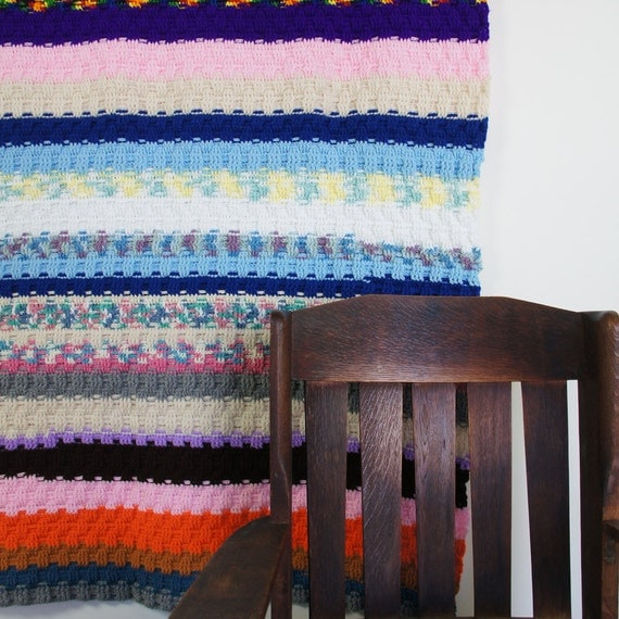 60s Hand Knit Afghan Throw / Multi Color Stripe Pattern