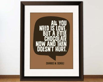 INSTANT Download, Inspirational Quote, Printable Typography Art, Download And Print JPEG Image - All You Need is Love And Chocolate