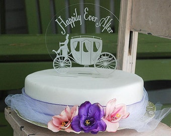 Happily Ever After with Carriage cake topper - Engraved Happily Ever After cake topper - Carriage cake topper - wedding carriage cake topper
