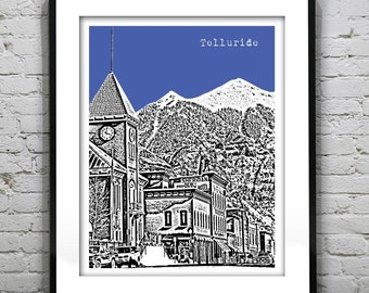Telluride Colorado Poster City Skyline Art Print