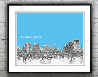 Buenos Aires Argentina Skyline Poster Art Print   Wide