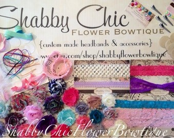 DIY Baby Headband Kit - Variety Pack - Creates 15 Customized Headbands 4 Clips - Shabby Chic Flower DIY Headband Making Kit: - Baby Shower