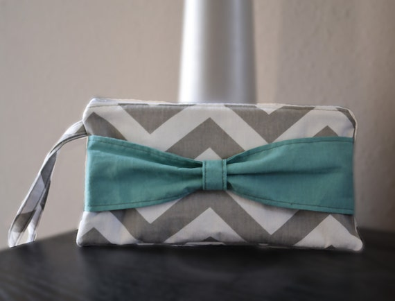 4 Chevron Bow Zipper Clutch Wristlet, fully lined, any color combo - great for Bridesmaids