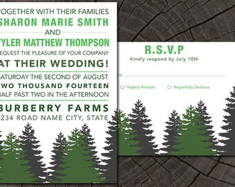 Woods/Mountain Wedding Invite plus RSVP card
