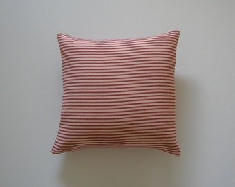 Ticking Striped 16x16 Pillow Cover Red Stripes On Cream Background