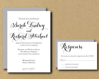 SALE Printable Custom DIY Wedding Invitation - Romantic Chic Calligraphy