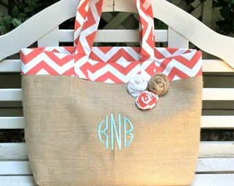Coral Chevron and Burlap Beach Tote- Custom Made to Order