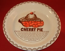 Vintage Cherry Pie Recipe Plate Pie Recipe Pan Hand