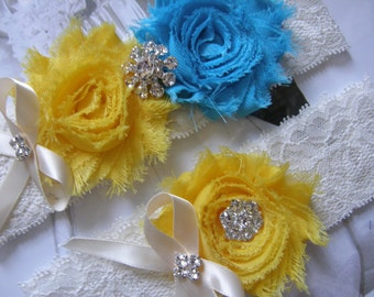 Something Blue / Yellow & Blue / Garter / Bridal Garter / Toss Garter / Vintage Inspired / Garter Set / Lace Garter