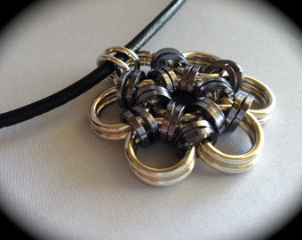 Sterling Silver Pendant Flower Black Ice and Silver Chainmaille Pendant w/ Leather Necklace,  Chain mail