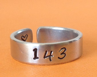 I Love You  143  Aluminum Cuff Ring - Urban Jewelry Hand Stamped - Custom Made Cuff Ring