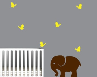 Nursery Wall Decal with Cute Butterflies and Elephant