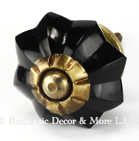 Kitchen Cabinet Knobs And Pulls Sets: Items Similar To Set/6 Black Melon Glass Cabinet Knobs