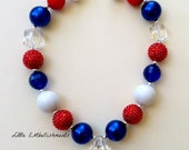 Red,White,Blue,4th of July, Baby, Toddler, Girl Chunky Necklace, Bubblegum Necklace