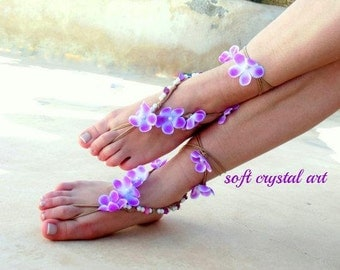 Barefoot sandals.flower wedding sandals.  boho barefoot sandals, barefoot sandles, crochet barefoot sandals, , yoga, anklet  hippie shoes