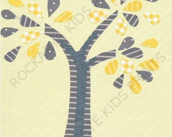 Tree Nursery Art Print, 8x10, kids room, yellow, grey