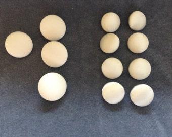 White tuxedo button set. White satin button set. 4-front and 8-sleeve
