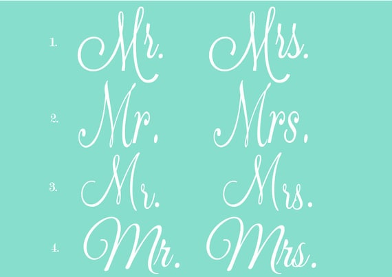 Items Similar To Mr And Mrs Vinyl Lettering On Etsy