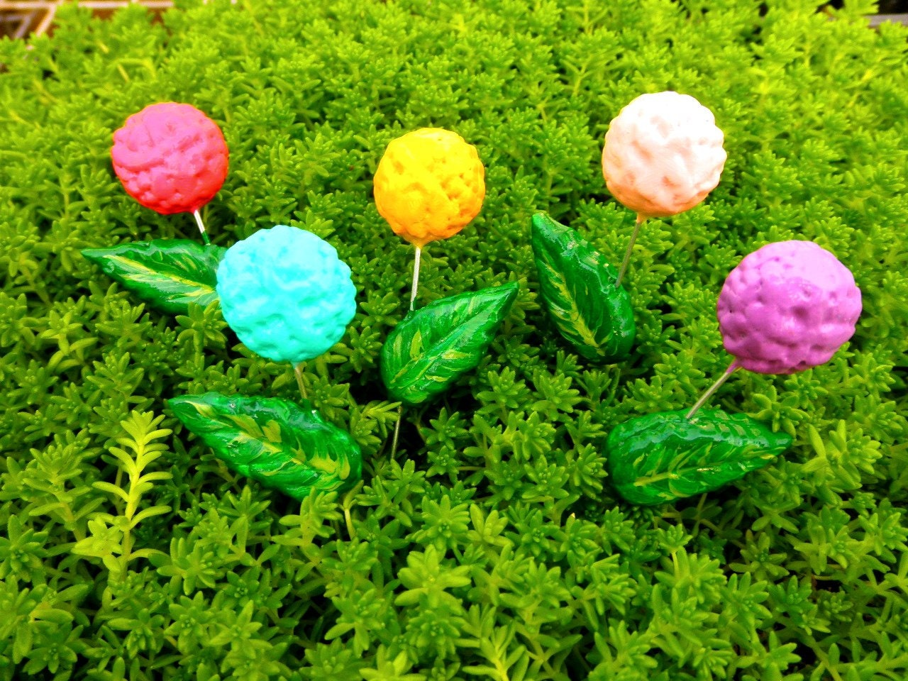 Single Flower Garden : Single clay flower for fairy garden miniature by bluemallard