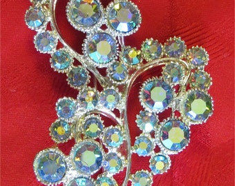Amazing BSK Blue Aurora Borealis Silver Tone Floral Brooch Pin - Free Shipping