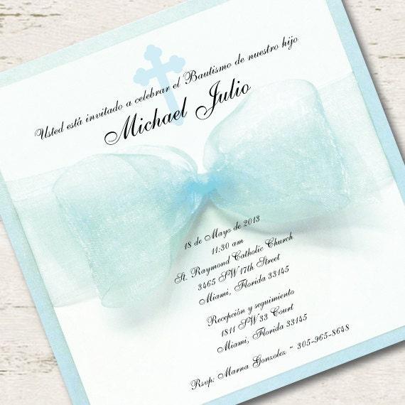 spanish boy baptism invitation christening blue ribbon spanish. Black Bedroom Furniture Sets. Home Design Ideas