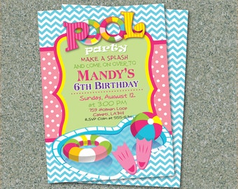 Pool  Water Birthday Party Printable Invitation PLUS FREE Cupcake, Favor Tags & Thank You